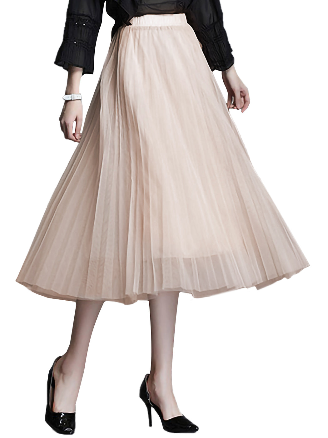 Flowy Tulle Pleated Midi Skirt
