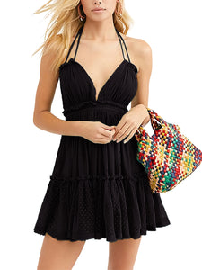 Summer Boho V-Neck Mini Dress