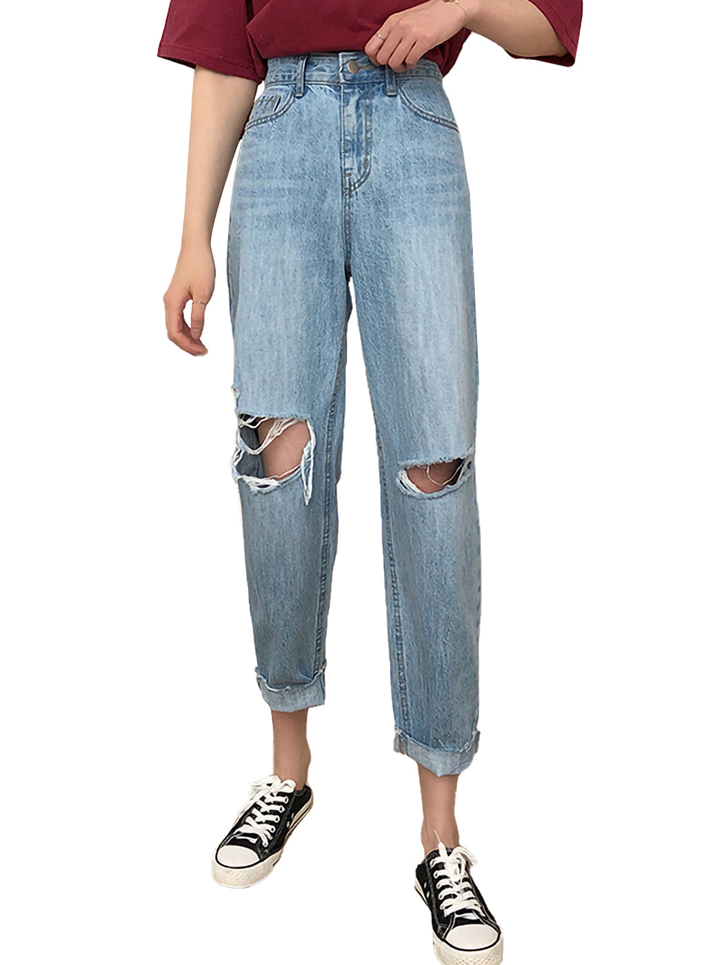 High Waist Ripped Boyfriend Jeans