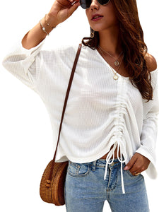 Waffle-Knit Ruched Sleeve Top