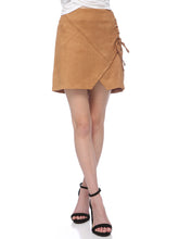 Load image into Gallery viewer, Faux Suede Lace-Up Mini Skirt