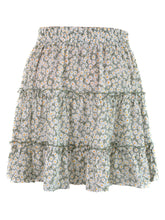 Load image into Gallery viewer, Summer Boho Floral Printed Elastic Waist Drawstring Frill Trim Ruffle Mini Skirts