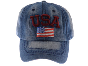4th of July American Embroidered USA Flag Cap Washed Cotton Hat for Men and Women