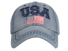 Load image into Gallery viewer, 4th of July American Embroidered USA Flag Cap Washed Cotton Hat for Men and Women