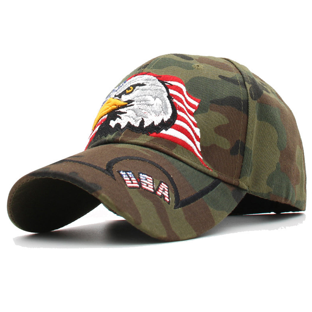 USA American Flag Patriotic Eagle Hawk Embossed Adjustable Baseball Caps Hats