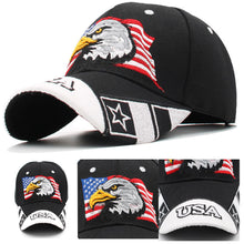 Load image into Gallery viewer, USA American Flag Patriotic Eagle Hawk Embossed Adjustable Baseball Caps Hats