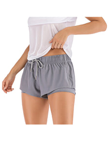 Yoga Running Shorts Sport Fitness Elastic Double Layer with Drawstring