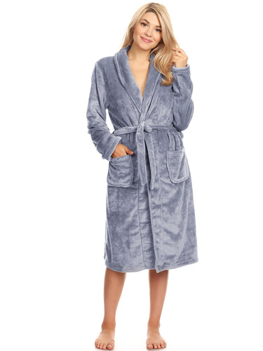 Anna-Kaci Unisex Soft Shawl Collar Long Fleece Bathrobe, Grey, Small/Medium