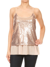 Load image into Gallery viewer, Anna-Kaci Womens Sequin Spaghetti Strap Sheer Ruffle Crop Camisole Tank Top, Silver, X-Large