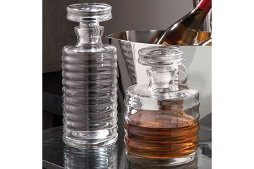 Hand Blown Glass Ribbed Decanter