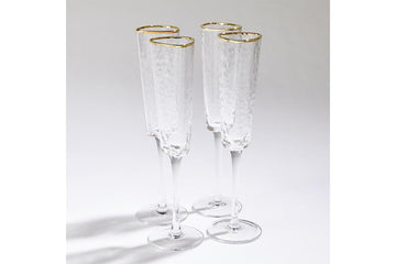 Hammered Champagne Glass Clear w/ Gold Rim