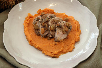 Lucy's Pork Tenderloin over Sweet Potatoes