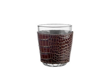 Brown Crocodile Leather Wrapped Cocktail Glass