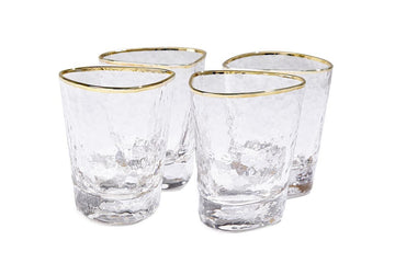 Gold Rim Hammered Glass