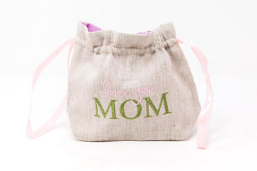 'Love you Mom' Linen Flower Bag