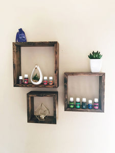 Set of Three Floating Square Shelves