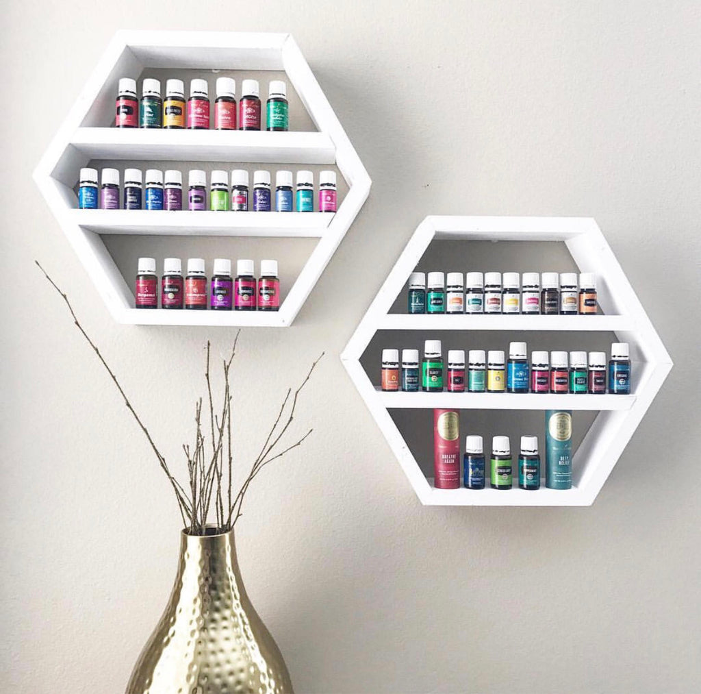 Set of Two Small Hexagon Shelves