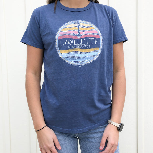 Lavallette Fitted Colorful Anchor T-Shirt (Various Color Options)