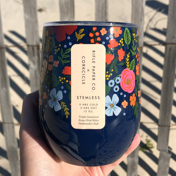 Corkcicle Floral 12 oz Stemless Cup