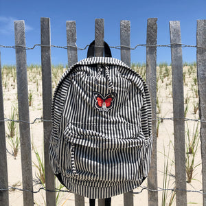 O'Neill Black and White Striped Canvas Backpack