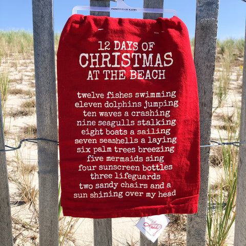 """12 Days of Christmas at the Beach"" Holiday Dish Towel"
