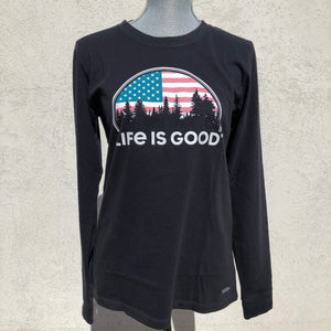 American Flag Life is Good Long Sleeve