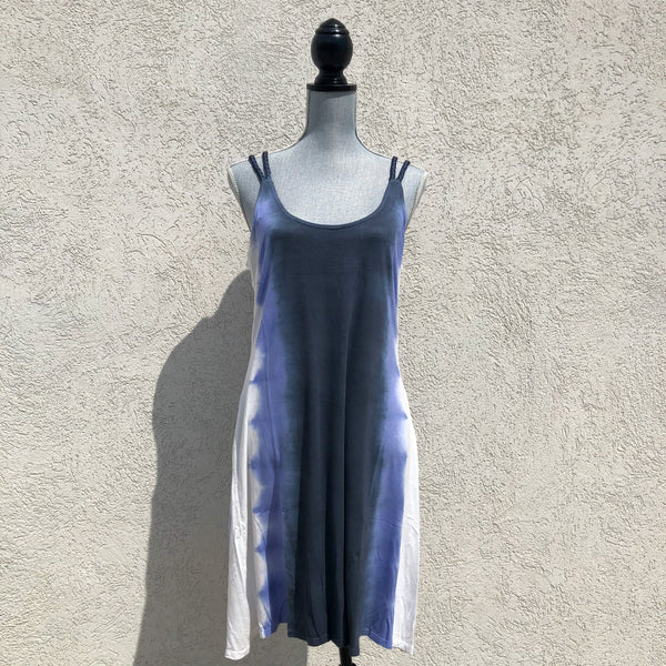 Braided Strap Purple Tie Dye Dress