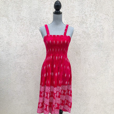 Pink Square Neck Dress