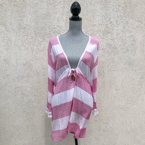Pink and White Striped Coverup