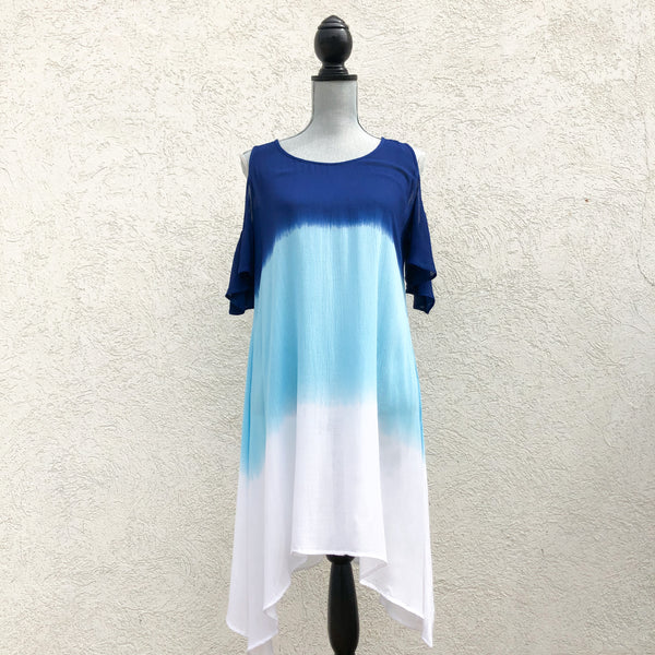Indian Tropical Cold Shoulder Tri-Color Dress (2 Color Options)