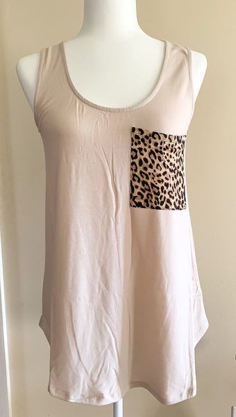 Light Blush Leopard Pocket Tank