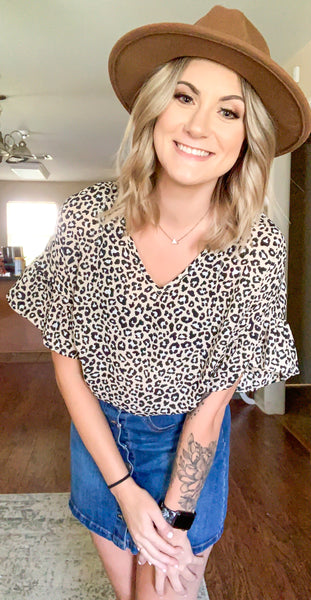Taupe Leopard Puff Sleeve top