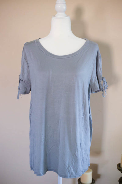 Plus Grey Slit Sleeve Top