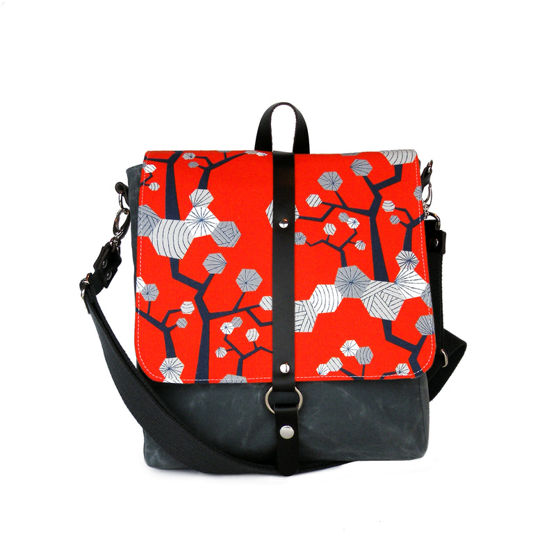 Messenger/Backpack in Red Floral