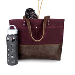Carryall Tote in Burgundy Waxed Canvas