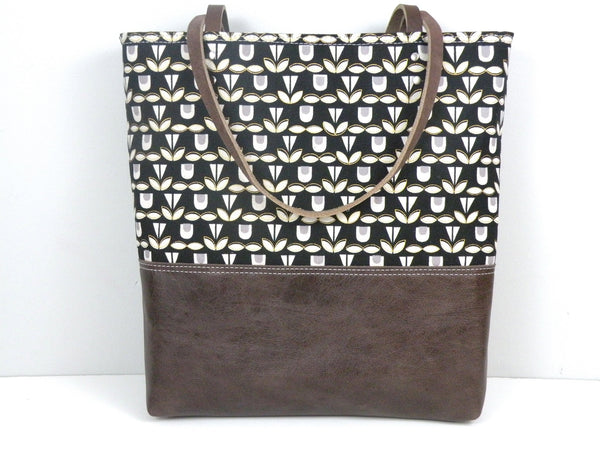Urban Tote in Black and Gold with Distressed Leather