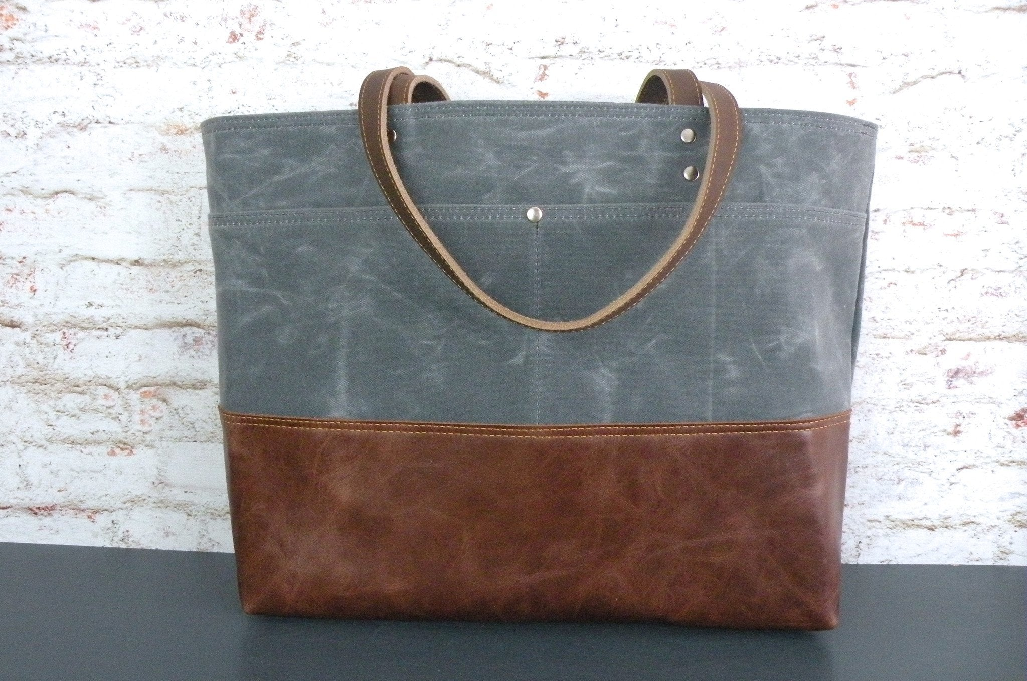 Carryall Tote in Charcoal Grey Waxed Canvas