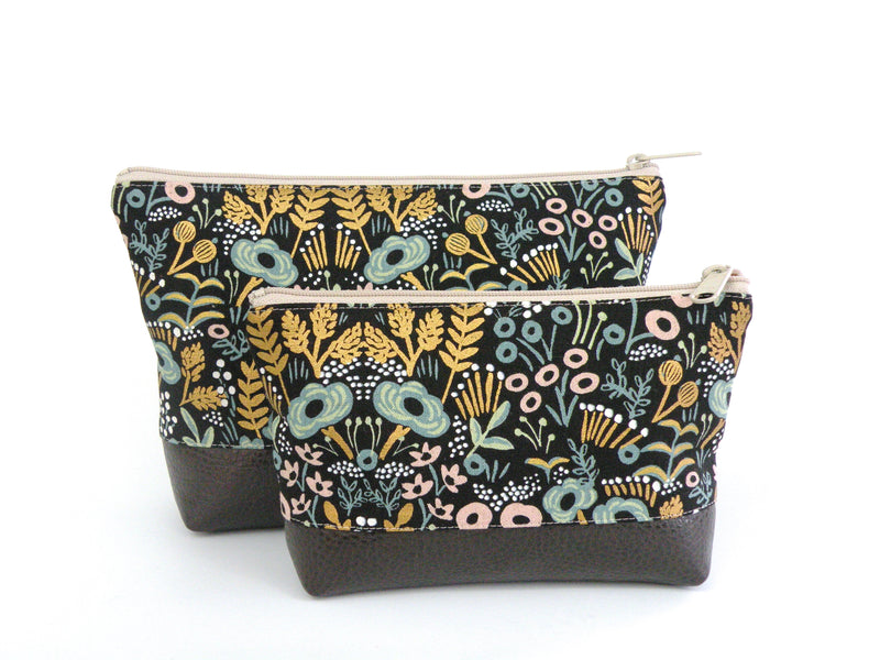 Cosmetic Clutch in Metallic Floral-Red Staggerwing
