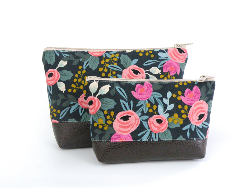 Cosmetic Clutch in Bright Floral-Red Staggerwing