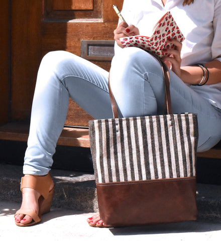 Urban Tote in Charcoal Striped Flax and Distressed Leather