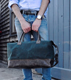Weekender in Forest Green Waxed Canvas-Red Staggerwing