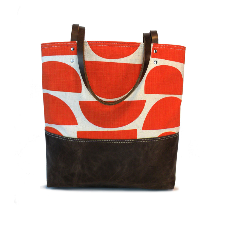 Urban Tote in Vibrant Orange Print and Distressed Leather