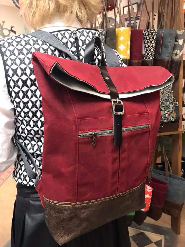 Backpack in Charcoal Waxed Canvas-Red Staggerwing