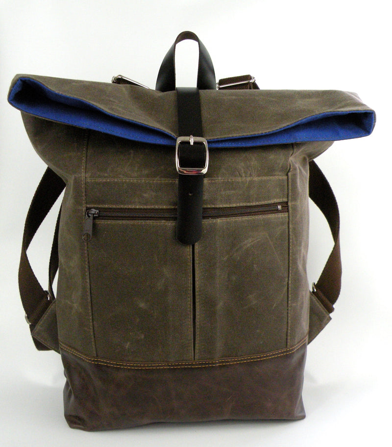 Backpack in Chocolate Waxed Canvas-Red Staggerwing
