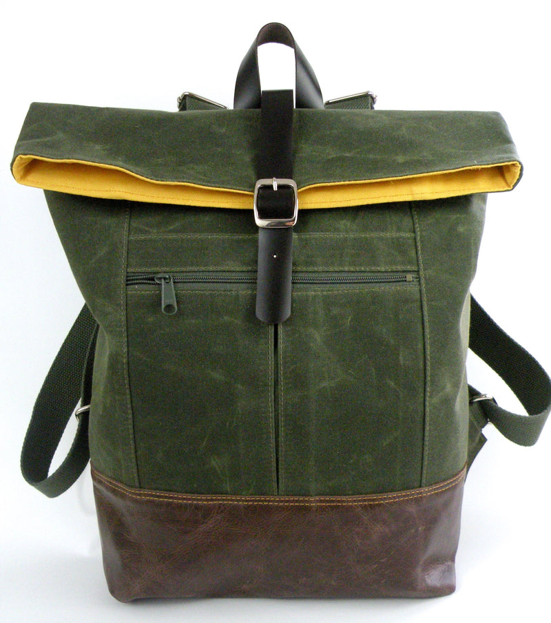 Backpack in Olive Green Waxed Canvas-Red Staggerwing
