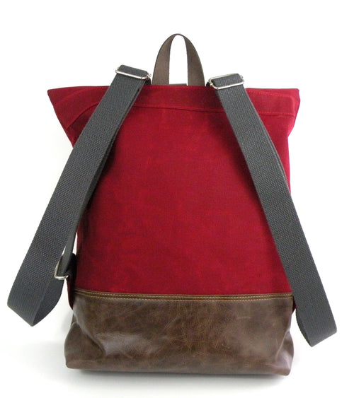 Backpack in Red Waxed Canvas-Red Staggerwing