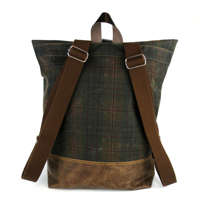 Backpack in Fall Plaid Waxed Canvas