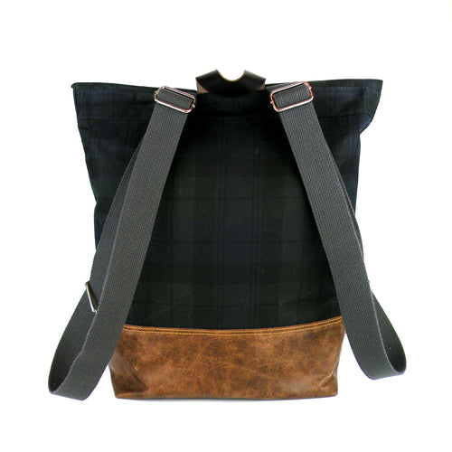 Backpack in Blackwatch Plaid Waxed Canvas