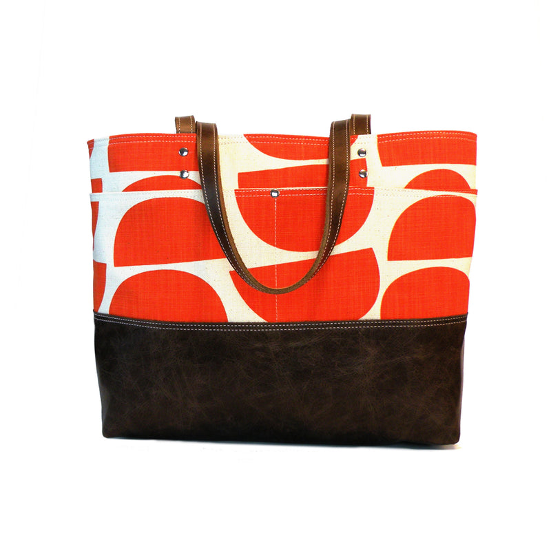 Carryall Tote in Vibrant Orange Print