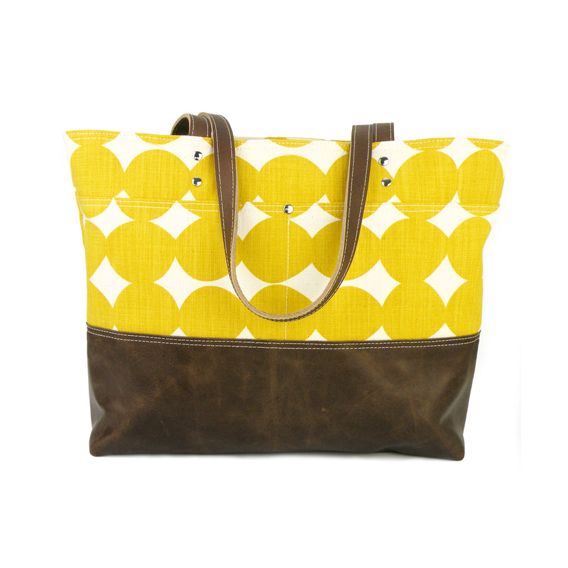 Carryall Tote in Mustard Dot Canvas